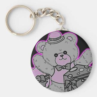 Teddy Bear Grey & Pink on Black Key Chain