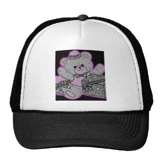 Teddy Bear Grey & Pink on Black Trucker Hat