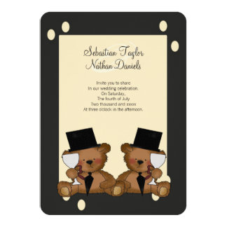 Teddy Bear Grooms Wedding 4.5x6.25 Paper Invitation Card