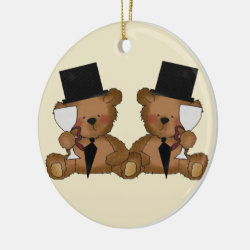 Teddy Bear Grooms Wedding Ceramic Ornament