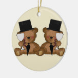 Teddy Bear Grooms Wedding Double-Sided Ceramic Round Christmas Ornament