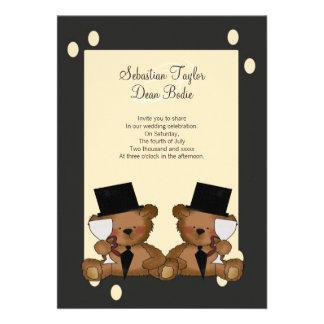 Teddy Bear Grooms Wedding Custom Invitations