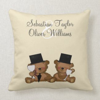 Teddy Bear Grooms Wedding Pillow