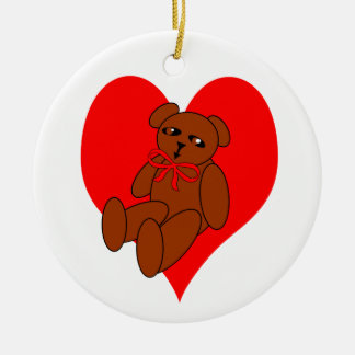 Teddy Bear Heart Designs Ornament