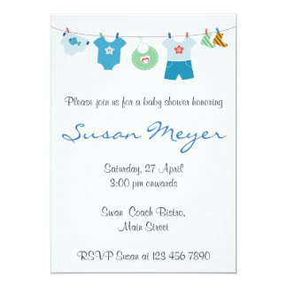 Teddy Bear Heart Red Blue Baby Invitation