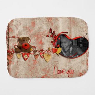 Teddy Bear & Hearts Scrapbook Style Photo Frame Baby Burp Cloth