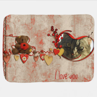 Teddy Bear & Hearts Scrapbook Style Photo Frame Baby Blankets