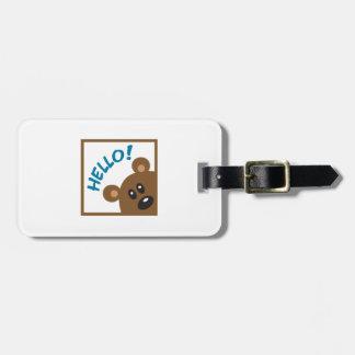 TEDDY BEAR HELLO LUGGAGE TAG