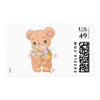 Teddy Bear Holding A Bouquet Postage