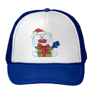 Teddy bear holding a Christmas present Trucker Hat