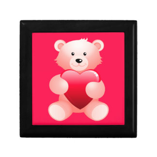 Teddy Bear Holding a Heart Jewelry Box