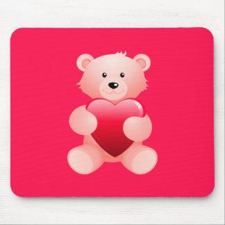 Teddy Bear Holding a Heart Mouse Pad