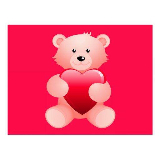 Teddy Bear Holding a Heart Postcards