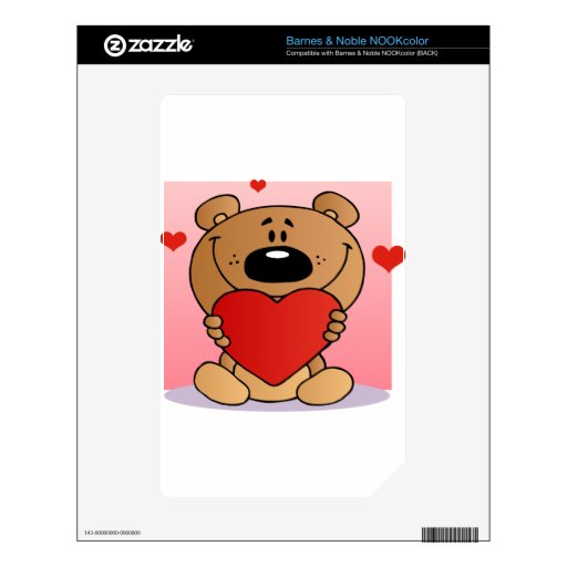 Teddy Bear Holding A Red Heart Decals For NOOK Color