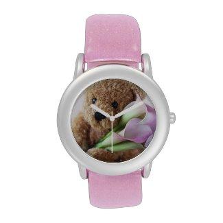teddy bear holding calla lilies glitter watch