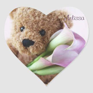 teddy bear holding calla lilies heart stickers