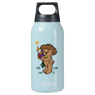 Teddy Bear Holding Flowers Insulated Water Bottle