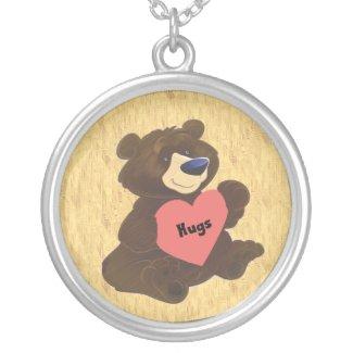 Teddy Bear Holding Hugs Heart Necklace
