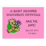 Teddy bear holding purple daisy save the date post card