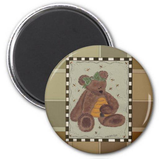 Teddy Bear Honey 2 Inch Round Magnet