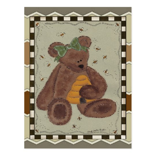 Teddy Bear Honey Postcard