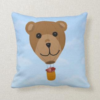 Teddy Bear Hot Air Balloon Throw Pillow