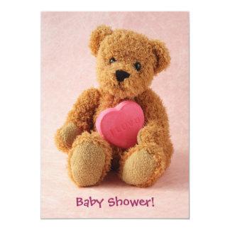 Teddy bear i luv u baby shower card