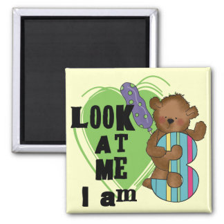 Teddy Bear I'm 3 Birthday Tshirts and Gifts 2 Inch Square Magnet