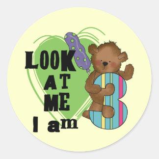 Teddy Bear I'm 3 Birthday Tshirts and Gifts Classic Round Sticker