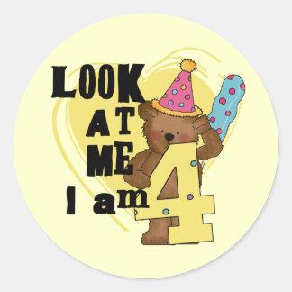 Teddy Bear I'm 4 Birthday Tshirts and Gifts Classic Round Sticker