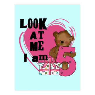 Teddy Bear I'm 5 Birthday T-shirts and Gifts Postcard