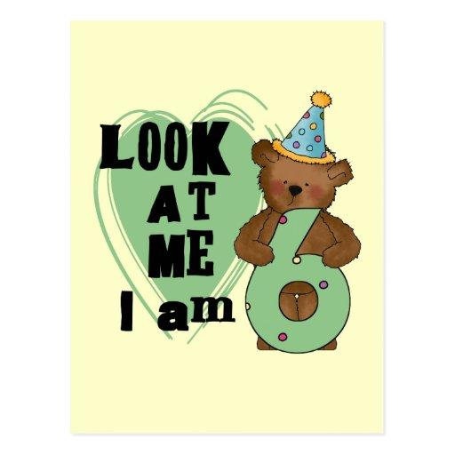 Teddy Bear I'm 6 Birthday T-shirts and Gifts Post Cards