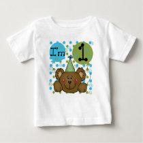 Teddy Bear I'm One First Birthday Baby T-Shirt
