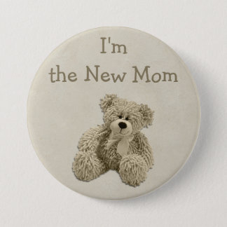 Teddy Bear I'm the New Mom Baby Shower Button