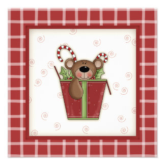 Teddy Bear in a Gift Box Christmas Party Invites