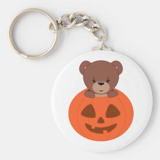 Teddy Bear In A Pumpkin Keychain