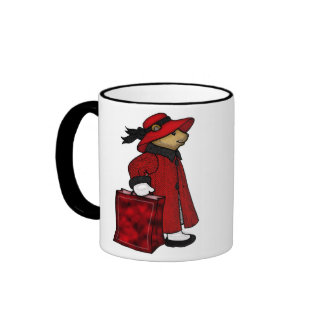 teddy bear in a red hat with shopping bag ringer mug