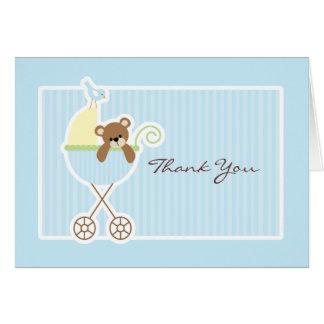Teddy Bear in a Stroller Baby Shower Thank You Card