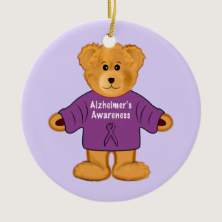 Teddy Bear in Alzheimer's Awareness Sweater Ceramic Ornament