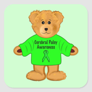 Teddy Bear in an Cerebral Palsy Awareness Sweater Square Sticker