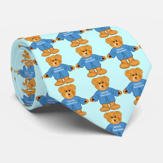 Teddy Bear in Apraxia Awareness Sweater Tie