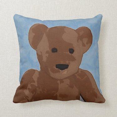Teddy Bear in Blue Throw Pillow