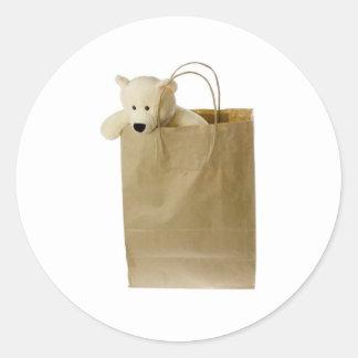 Teddy bear in brown paper bag sticker