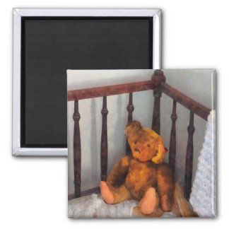 Teddy Bear in Crib 2 Inch Square Magnet
