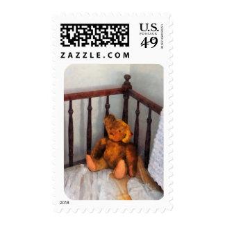 Teddy Bear in Crib Postage