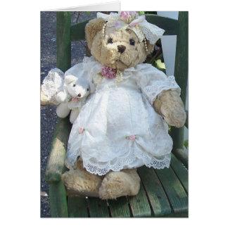 Teddy Bear in dress w/ Doll Dog Chair Notecards Greeting Cards