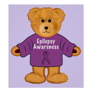 Teddy Bear in Epilepsy Awareness Sweater Poster