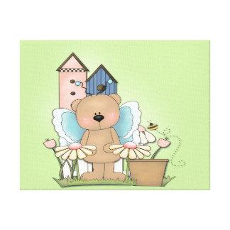 Teddy Bear in Garden Canvas Print