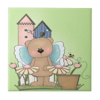 Teddy Bear in Garden Ceramic Tile