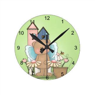 Teddy Bear in Garden Round Clock